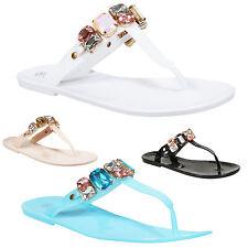 NEW LADIES JELLY FLIP FLOPS WOMEN SUMMER BEACH DIAMANTE TOE POST FLAT SANDALS