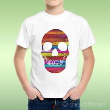 T-Shirt bébé Garçon Crâne Tete De Mort Bois Multicolore Wood Idée Cadeau