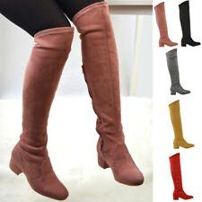 Mujer Botas Hasta La Rodilla Elástico Pantorrilla Pierna Damas Tacón Bajo Plano Cremallera Calcetín Zapatos Talla