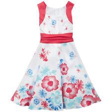 Rare Editions Girls 7-16 White/Coral Multi Shantung Floral Dress w/Sash - $70