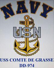 USS COMTE DE GRASSE  DD-974* DESTROYER * U.S NAVY W/ ANCHOR* SHIRT