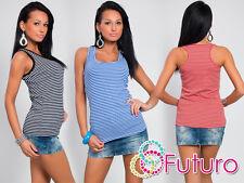 Lovely Women's Vest Top Striped Plain T-Shirt Sleeveless Size 8-12 FT749