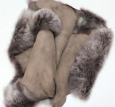 Taupe Brissa Sheepskin Toscana Silver Tip Lambskin Clothing, Collar, Garments