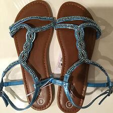 Cherokee Girls' Lynn Thong Sandals - Black & Blue - kid's size  5, 6