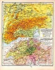 MAPPA STORICA ~ Alpine BARRIERA & CAMPI DI BATTAGLIA ~ crescita della Confederazione SVIZZERA