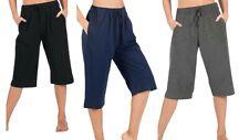 New Womens Ladies Girls 3/4 Trouser Cropped Capri Shorts Pants Yoga Leggings