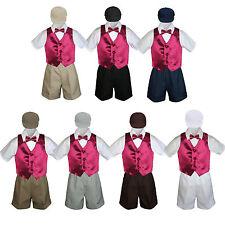 Boys Toddler Formal Burgundy Vest Bow Tie White Khaki Navy Gray Hat 5pc Set S-4T