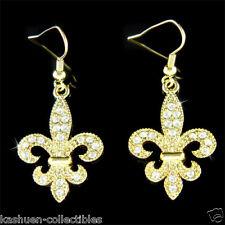 w Swarovski Crystal Gold PL ~Fleur De Lis Lys Flower Floral Iris Quebec Earrings