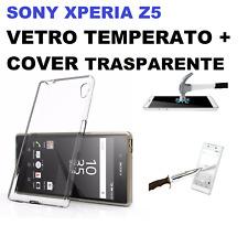COVER TRASPARENTE + PELLICOLA VETRO TEMPERATO Per SONY XPERIA Z5 E5823 E6603/53