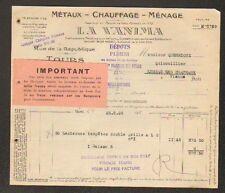 """TOURS (37) Ets. METALLURGIQUES / METAUX """"LA VANIMA"""" en 1926"""