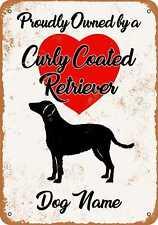Metal Sign - Custom Dog Name - Curly Coated Retriever - Vintage Look