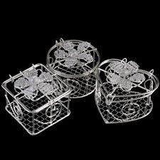 1 Mini WIRE TRINKET BOX - - -wedding gift favours pots tone silver metal colour