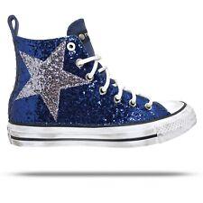 Converse All Star Chuck Taylor Personalizzate Borchie e Glitter Blu e Nero