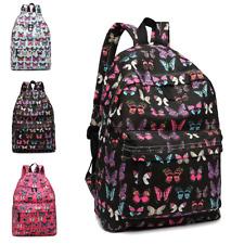 Girls Canvas Butterfly Print Bag School Ladies Backpack Travel Rucksack A4