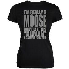 Halloween Human Moose Costume Black Juniors Soft T-Shirt