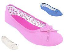 Da Donna Ragazze blu rosa beige Piatto Ballerine POMPE Canvas Casual Scarpe UK 4-8 38