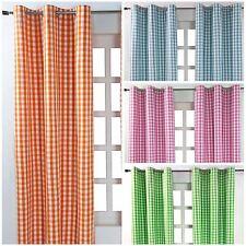 Block Check Cotton Ready Made Eyelet Curtains Blue, Pink, Green, Orange