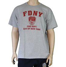 FDNY Gray Tee Red Shield Fire Dept New York City T-Shirt Tee Mens Shirt Licensed