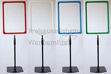 Preisschildhalter Teleskop Plakatständer DIN A4 Rahmen Wunschfarbe + Metallfuß