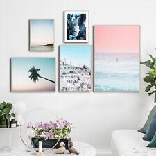 Ocean Sunset Landscape Poster Nordic Pink Sky Art Canvas Print Simple Painting