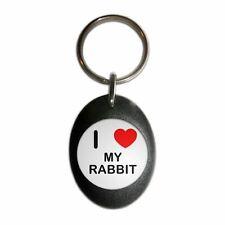 I Love My Rabbit - Plastic Oval Key Ring Colour Choice New