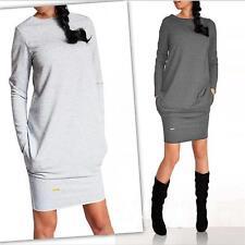 Women Long Sleeve Warm Sweatshirt Mini Dress Pullover Jumper Tops 6A