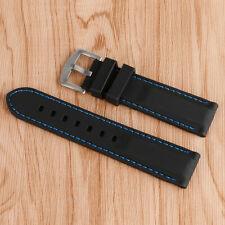 Black Watch Strap Silicone Men Waterproof Blue Line Stitching Soft 20/22/24/26mm