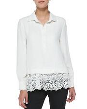 NEW LELA ROSE Silk Crepe de Chine Blouse Lace Long Sleeve Ivory Top 4
