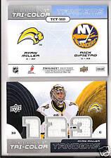 2008-2009  Trilogy Hockey Rick DiPietro/Ryan Miller Tri-color Tandems Card