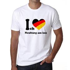 I Love Neuburg am inn, Homme Tshirt, Herren Tshirt, Blanc, Cadeau