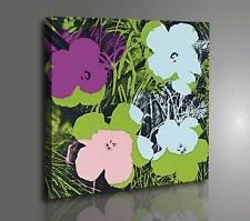 Quadro Moderno Vernice Pennellate Effetto Dipinto Warhol Flowers Stampa su Tela