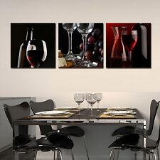 WINE/GLASS/BOTTLE ready to hang wall art print 3 panel/MDF fiberboard canvas art