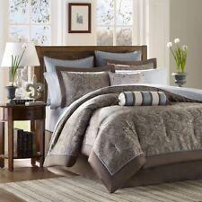 Luxury 12pc Blue & Taupe Jacquard Weave Comforter Set And Sheet Set