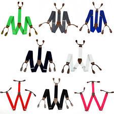 Men Unisex Braces 6 Button Hole Lycra/Elasticated Suspenders Adjustable Y Shape