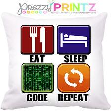 EAT Sleep CODICE ripetere Cuscino Divertente Geek PROGRAMMATORE hacker computer Gamer REGALO