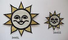 #3445 Gold,Silver,Black Sun,Smile Face Embroidery Applique Patch