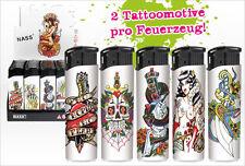 50 Elektronik-Feuerzeuge nachfüllbar diverse Motive Tattoo skull floral