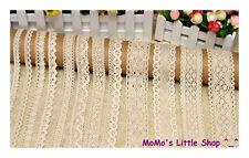 Pretty Vintage Style Cream/Ivory 100% Cotton Crochet Scalloped Floral Lace Trim