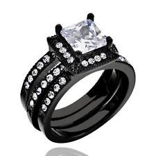 Women's Wedding Band Ring Set Black Stainless Steel Princess Cut Halo CZ