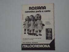 advertising Pubblicità 1974 BAMBOLA ITALOCREMONA ROSSANA