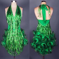 Latin Ballroom Dance Dress Modern Salsa Waltz Standard Long Dress#FM037 5 Colors