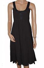 C027 - Ladies Black Crinkled Day or Evening Dress - UK  10, 12 & 14
