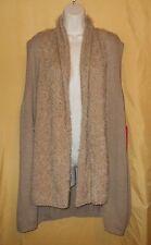 Sunny Leigh women's camel beige asymmetrical feather sweater top vest shrug $78