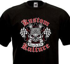 T-Shirt KUSTOM KULTURE Moteur Chopper Tête de mort Custom Biker Ride Rock'n'Roll
