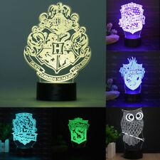 Hogwarts Harry Potter Badge 3D LED Night Light Table Desk Lamp Xmas Gift 7 Color