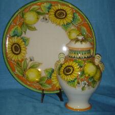 Ceramica dipinta a mano RICCERI: Collezione decoro GIRASOLE E LIMONE