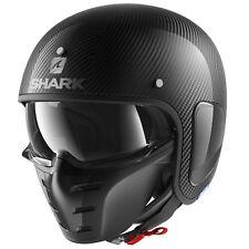 Shark-Drak Carbono Piel Negro Casco De Moto Motocicleta + Visera + Máscara