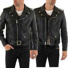 DE Herren Lederjacke Biker Men's Leather Jacket Coat Homme Veste En cuir R101c