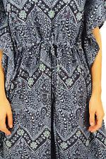 Bimba Long Cotton Kaftan Maxi Printed Kimono Dress Drawstring Cover Up Nightwear
