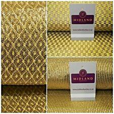 Gold Banarsi textured Geometric Lame Brocade Fabric 111 cm MA1121 Mtex